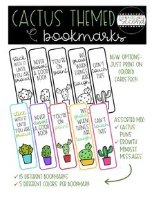 These Cactus Themed Bookmarks are the perfect assorted mix of cactus puns and Growth Mindset messages your readers need to stay sharp and pointed in the right direction! Future Classroom, Classroom Themes, Classroom Organization, Teaching Second Grade, Student Teaching, Cactus Pun, Library Themes, Learning Support, Elementary Library