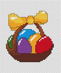 Easter cross stitch - Traditional Easter basket with a yellow ribbon and colorful eggs. This is a great, free pattern for - Cross Stitch Quotes, Cross Stitch Letters, Cross Stitch Bookmarks, Cross Stitch Cards, Cross Stitch Baby, Modern Cross Stitch, Cross Stitch Flowers, Cross Stitch Kits, Cross Stitch Designs