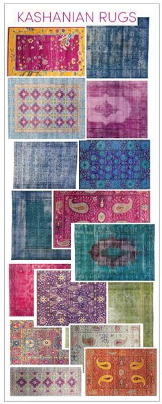 Over dyed rugs in stunning vibrant colors