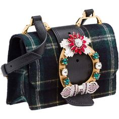 SHOULDER BAG ($1,970) ❤ liked on Polyvore featuring bags, handbags, shoulder bags, plaid bags, miu miu handbags, tartan purse, blue handbags, shoulder bag purse and buckle handbags