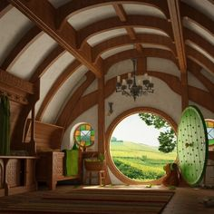 Interior shot of a hobbit house- repinned so don't know builder Hobbit house