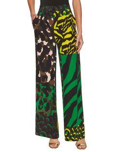 Versace Silk Printed Wide Leg Pant