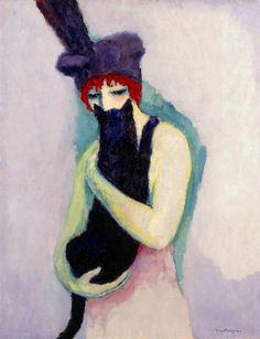 Woman with Cat, 1908 by Kees van Dongen. Expressionism, Fauvism. portrait