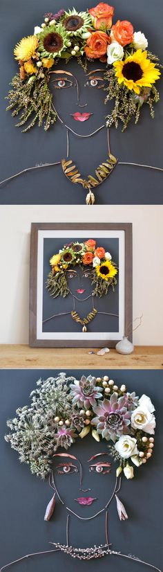 Unique art! Prints of original flower faces created completely of fresh foliage by Vicki Rawlins.