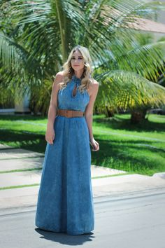 Trendy Denim Long Maxi Dress Fashion for Ladies – Designers Outfits Collection Denim Maxi Dress, Dress Skirt, Demin Dress Outfit, Denim Attire, Denim Fashion, Fashion Outfits, Dress Fashion, Frack, Jeans Rock