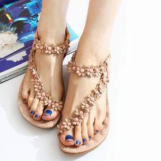 Bohemia Flip Flops Floral Beads Sandals