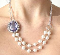 Wedding Jewelry Purple Rhinestone Necklace Bridal Jewelry Pearl Wedding Necklace Statement Jewelry