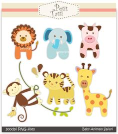 Free Printable Baby Clip Art | ... clip art., baby animal safari, INSTANT DOWNLOAD Digital clip art