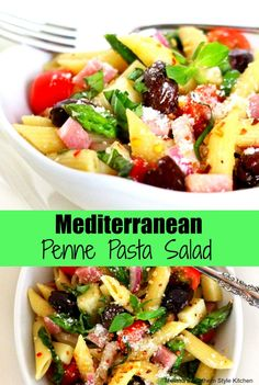 At this time of year, salads like this Mediterranean Penne Pasta Salad are a tasty alternative to serving a heavy meal on a hot day. In this dish, tender penne pasta, cubed mozzarella cheese, smoked Supper Recipes, Side Dish Recipes, Easy Dinner Recipes, Side Dishes, Delicious Recipes, Penne Pasta Salads, Penne Pasta Recipes, Mediterranean Pasta, Mediterranean Recipes