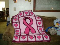 Breast Cancer Awareness - All my afghans are backed in fleece.