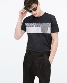 ZARA - メンズ - 布地ストライプデザインTシャツ