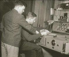 Bill Hewlett and David Packard - and a slide rule!
