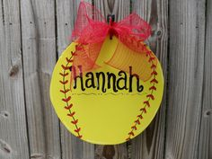 Large Softball Hand Painted Wood Sign - Show Off Your Player or Team. $24.00, via Etsy.