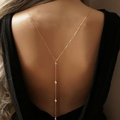 New Women Design Crystal Backdrop Necklace Gold plated Back Body Chain Jewelry Wedding Backless Dress Accessories