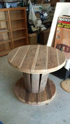 Spool Table. Cypress and cedar. The only things from the original spool are the vertical slats and the washers
