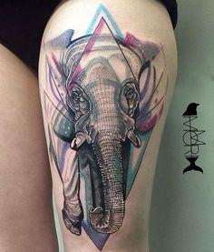 Elephant tattoo by Momori Tattoo Geometric Elephant Tattoo Designs, Colorful Elephant Tattoo, Watercolor Elephant Tattoos, Small Watercolor Tattoo, Abstract Tattoos, Watercolor Sketch, Leg Tattoos Women, Back Tattoo Women, Thigh Tattoos