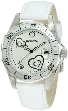 #Invicta Women's 12401 Pro Diver Silver Heart Dial White Leather #Watch