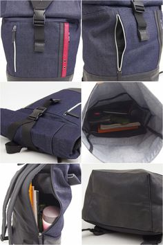 monolog  Backpack large school men s denim bag fabric connection  FABRICCONNECTION backpack daypack mouth folding roll top roll backpack bag  bag commute ... 1c4d2bc9c3