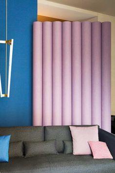 Spotti Milano presents new textiles for the Kvadrat / Raf Simons collection.  Setup by Studiopepe. Photo by Silvia Rivoltella.