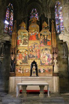 Medieval altar dedicated to the Black Madonna of Montserrat, Tarragona, Spain.