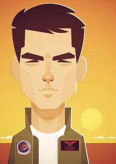 Top Gun - Stanley Chow Illustration of Manchester England Character Illustration, Digital Illustration, Flat Illustration, Stanley Chow, Jem And The Holograms, Celebrity Caricatures, Fashion Wall Art, Character Design, Character Flat