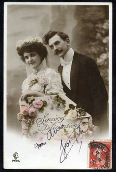 French Edwardian WEDDING Couple Sincere Felicitations Postcard...