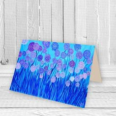 Make someones day with a pretty #greetings #card. Featuring vibrant bright #Blue Flowers this #Abstract Art Greetings Card is the perfect way to show someone you care. This #LouiseMead designer card is printed onto high quality heavy gloss archival card stock that can be kept and framed if desired.