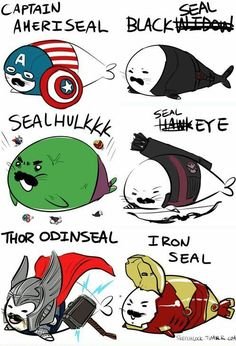 The Avengers as seals