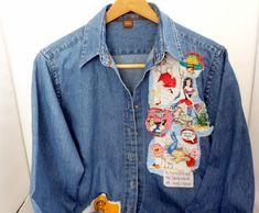 Altered Denim Shirt Ladies Denim Jean Shirt Fabric Art Embellished Shirt by Quiltwear on Etsy