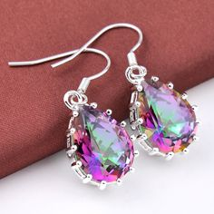 New Arrival Hot Sale Princess Charm Crystal Dangle Earrings Rainbow Mystic Created Topaz Dangle Earrings Silver Plated Jewelry //Price: $12.49 & FREE Shipping // #shopping #glam #bags #style #fashion