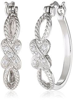 Sterling Silver Cubic Zirconia Crossover Hoop Earrings (0.1 cttw).More info for costume earrings;gold stud earrings;diamond drop earrings;stud earrings for women;new earrings could be found at the image url.(This is an Amazon affiliate link and I receive a commission for the sales)