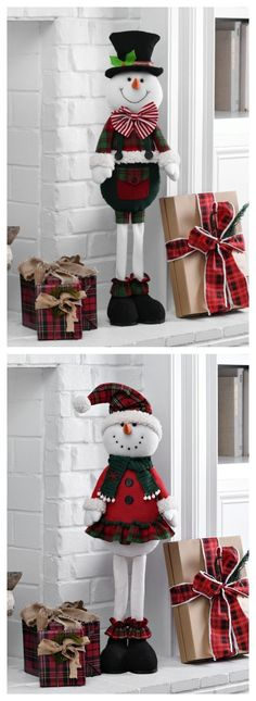 Fill your home with festive characters that will make their holiday! Shop standing snowmen + snowgirls and make Christmas life sized at Kirkland's. Christmas Blocks, Christmas Clay, Christmas Snowman, Christmas Ornaments, Country Christmas, Christmas Time, Snowman Crafts, Christmas Crafts, Christmas Door Decorations