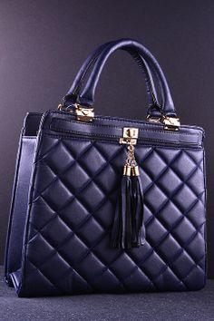 Navy Tassel Quilted Tote Bag Designer Inspired Handbags Fashion