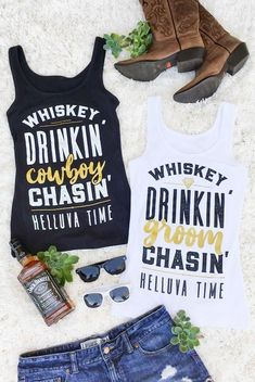 Fun And Flirty Whiskey Drinkin Groom Chasin Helluva Time Gold Metallic Country Bachelorette Party Shirts Perfect For A Nashville