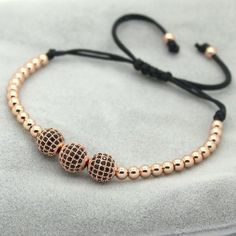 8mm Pave Setting Rose Gold Beads & Braiding Macrame Bracelet For Women/Men - Bracelets World