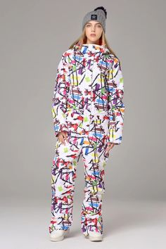 BLady Womens Colorful Floral Pattern Quilted Zip Up Hooded Parka /& Pants Set