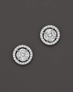 Bloomingdale's Diamond Cluster Halo Stud Earrings in White Gold, ct. – Exclusive Jewelry & Accessories – Bloomingdale's - Top-Trends White Gold Diamond Earrings, White Gold Studs, White Gold Diamonds, Gold Earrings, Diamond Jewelry, Gold Jewelry, Vintage Jewelry, Fine Jewelry, Diamond Stud Earrings