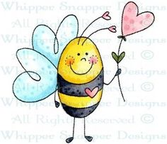 Bee in Love - Bugs - Rubber Stamps - Shop Stone Painting, Painting & Drawing, Bee Drawing, Posca Art, Envelope Art, Bee Art, Love Bugs, Watercolor Cards, Whimsical Art