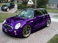 Mini Cooper S with wide body kit, bigger wheels, stunning purple chrome paint and graphics. As nice a Mini as I have seen. Purple Rain, Purple Love, All Things Purple, Shades Of Purple, Purple Stuff, Mini Cooper S, Mini Cooper Custom, Cooper Car, My Dream Car