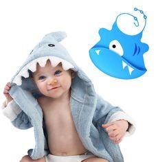 VERKAUF!! Baby Blue Shark Bath Robe Bademantel 0-9 Monate + Silikon Bib Kapuzen Handtuch Baby Geschenk Set Boys
