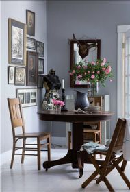 Idea for family history wall collage, and add little table & chair below