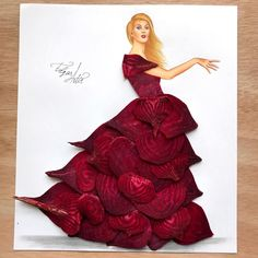 Dress made of beetroot slices by Edgar Artis