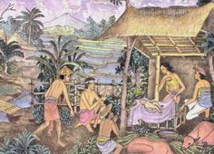Birth in the ricefield, by Ketut Lasia Jesus Loves You, Sacred Art, Balinese, Christian Art, Jesus Christ, Catholic, Birth, Asian, Painting