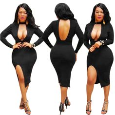 ByChicStyle Black Irregular Deep V-neck Halter Neck Side Slit Bodycon Midi Dress Club Outfits, Sexy Outfits, Sexy Dresses, Picnic Outfits, Lil Black Dress, Lab, Glamour, Voluptuous Women, Swagg