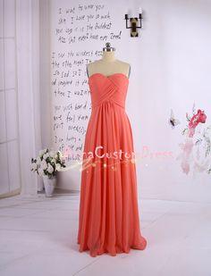 Long Coral Bridesmaid Dress/Sweetheart Wedding Party Dress/Mint Peach Grey Pink Navy Blue Ivory Bridesmaid Dress/Prom Dress/Formal Dress on Etsy, $79.00