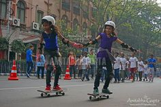 "Girls on Skate Board at ""Happy Streets"" | by AmitabhaGupta"