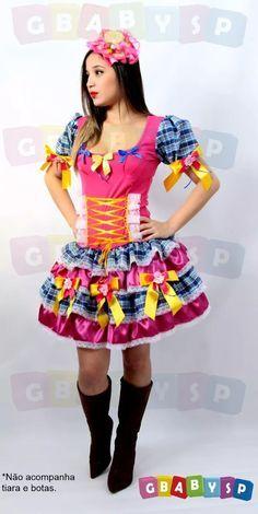 Vestido Junino Adulto Roupa Festa Junina Caipira P Ao Gg - R$ 145,00 no MercadoLivre