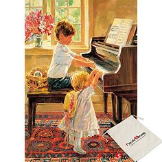 Puzzle Life,Brither And Sister Who Play The Piano - Corinne Hartley - 500 Piece Jigsaw Puzzle [Pouch Included] Piano Lessons For Beginners, Piano Art, Playing Piano, Cross Paintings, Portraits, American Artists, Drawing S, 500 Piece Jigsaw Puzzles, Art Boards
