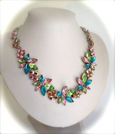 Vintage Chunky Crystal Wreath Multi Color by WOWTHATSBEAUTIFUL