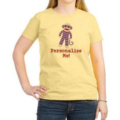 Cafepress Personalized Purple Sock Monkey Women's Light T-Shirt, Size: XL, Yellow